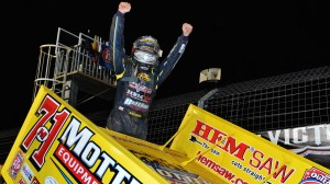 Joey Saldana celebrates after winning the World of Outlaws STP Sprint Car Series' Circle K/NOS Energy Outlaw Showdown Friday at The Dirt Track At Charlotte (N.C.) (Chris Seelman photo)