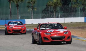 Chris Beaufait on track at Sebring Int'l Raceway during the season-opening SCCA Mazda MX-5 Cup event. (Mark Weber/SCCA Photo)