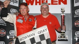 Junior Miller celebrates his first Modified win in five years on Saturday at Bowman Gray Stadium in Winston-Salem, N.C. (Eric Hylton photo)