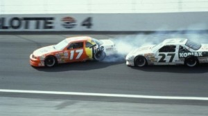 Darrell Waltrip (17) spins after contact from Rusty Wallace late in the Sprint All-Star Race at Charlotte Motor Speedway in 1989. (CMS photo)
