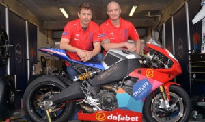 Mark Miller and Brandon Cretu with the Buell EBR1190RS they will race for Splitlath Motorsports during the Isle of Man TT.