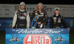 Tim Sauter (center) held off Chris Wimmer (left) and Ty Majeski to win Saturday's ARCA Midwest Tour race at State Park Speedway in Wisconsin. (Doug Hornickel Photo)