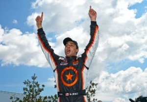 Michael DiMeo celebrates another Pirelli World Challenge Touring Car victory Sunday at Canadian Tire Motorsports Park in Bowmanville, Ontario. (PWC Photo)