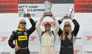 Angel Benitez Jr. (center), Christina Nielsen (right) and Sloan Urry made up the podium following Saturday's Porsche GT3 Cup Challenge USA by Yokohama event at Lime Rock Park. (IMSA Photo)