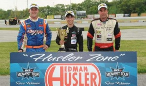 Ty Majeski (center), Eddie Hoffman (right) and Jonathan Eilen (left) finished in the top three positions during the combined ARCA Midwest Tour and ARCA/CRA Super Series event Monday at Illiana Motor Speedway. (Doug Hornickel Photo)