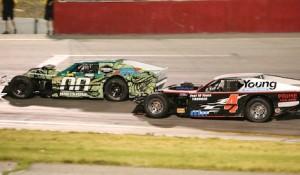 Tyler Whetstone (00) battles Lynn Hardy at Utah's Rocky Mountain Raceways.