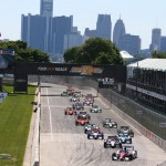 The Verizon IndyCar Series field takes the green to start Sunday's event at Belle Isle Park in Detroit, Mich. (IndyCar Photo)