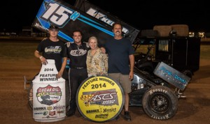 Sam Hafertepe Jr. raced to his first Lucas Oil ASCS presented by MAVTV American Real victory since 2011 Wednesday at Lawton (Okla.) Speedway. (ASCS/Mike Spivey Photo)