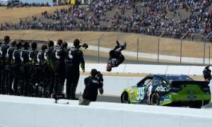 Carl Edwards celebrates after winning Sunday's NASCAR Sprint Cup Series race at Sonoma (Calif.) Raceway. (NASCAR Photo)