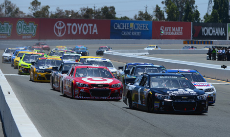 Jamie McMurray (1) leads the field at the start of Sunday's Toyota/Save Mart 350. (NASCAR Photo)