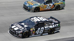 Jimmie Johnson (48) sped to his second NASCAR Sprint Cup Series win in a row on Sunday. (HHP photo/Alan Marler)