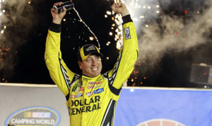 Kyle Busch celebrates after winning his fifth NASCAR Camping World Truck Series race of the year Thursday at Kentucky Speedway. (HHP/Tami Kelly Pope Photo)