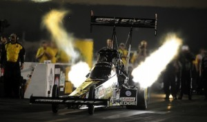 Brittany Force led qualifying Friday night at Route 66 Raceway. (NHRA photo)