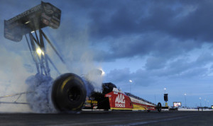 Doug Kalitta had the fastest qualifying time in the NHRA Top Fuel class Saturday at Route 66 Raceway. (NHRA Photo)