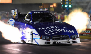 Tommy Johnson Jr. was the fastest qualifier in the NHRA Funny Car class Saturday at Route 66 Raceway in Joliet, Ill. (NHRA Photo)