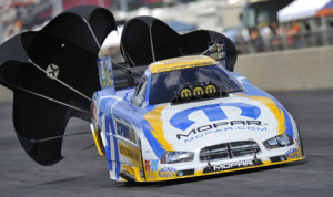 Matt Hagan scored his first NHRA Funny Car triumph of the year Sunday at Route 66 Raceway. (NHRA Photo)