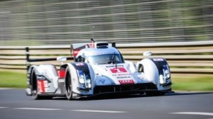 The No. 1 Audi suffered a major crash in Le Mans practice Wednesday afternoon when driven by Frenchman Loic Duval. Duval was extricated from the car but was conscious. (ACO photo)