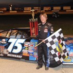 Chris Weinkauf in victory lane after winning Friday's ARCA Midwest Tour feature at Grundy County Speedway. (Doug Hornickel Photo)
