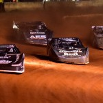 Scott Bloomquist leads a pack of cars during Friday's Lucas Oil Late Model Dirt Series race at Cherokee Speedway in Gaffney, S.C. (Rick Schwallie Photo)