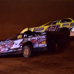 Ricky Weeks (1w) and Anthony Sanders battle during Lucas Oil Late Model Dirt Series action Friday at Cherokee Speedway. (Rick Schwallie Photo)