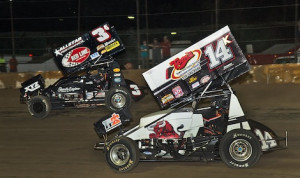 Dale Blaney battles James McFadden (3) Thursday night at Fremont Speedway. (Mike Campbell photo)