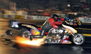 Canadian Mike Scott continued to dominate the Nitro Harley class in IHRA competition Saturday in Ontario. (IHRA Photo)