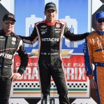 Helio Castroneves (center), Will Power (left) and Charlie Kimball were the top three finishers in Sunday's Verizon IndyCar Series race at Belle Isle Park. (Al Steinberg Photo)