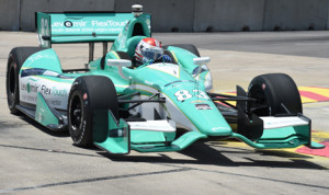 Charlie Kimball on track during Friday's Verizon IndyCar Series practice on the Houston street circuit. (Al Steinberg Photo)