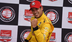 Helio Castroneves won his 40th career IndyCar pole on Sunday in Houston. (Al Steinberg photo)