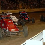 Shane Cockrum (66), Chad Boespflug (98), Mark Bitner (15) and Joey Biasi during Thursday's AMSOIL USAC National Sprint Car Series event at New Egypt Speedway. (Hein Brothers Photo)