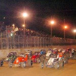 The AMSOIL USAC National Sprint Car Series field prepares to go racing Saturday night at Port Royal (Pa.) Speedway. (Hein Brothers Photo)