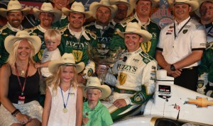 Ed Carpenter poses in victory lane with his family and crew after winning Saturday's Verizon IndyCar Series race at Texas Motor Speedway. (Al Steinberg Photo)