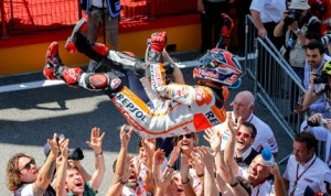 Marc Marquez and his crew celebrate after Marquez claimed his sixth-straight MotoGP victory Sunday at Italy's Mugello Circuit. (MotoGP Photo)
