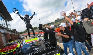 Eddie Cheever III celebrates his first NASCAR Whelen Euro Series victory Saturday in England at the Brands Hatch Circuit. (Stephane Azemard/NASCAR Photo)