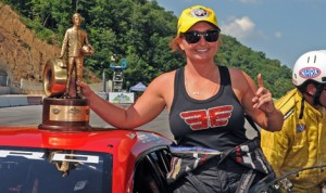 Erica Enders-Stevens will sit out the next two NHRA events despite being the NHRA Pro Stock division championship leader. (Mike Gbur Photo)