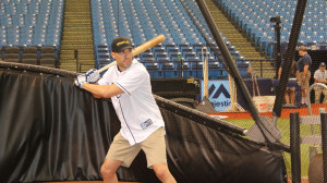 NASCAR driver Aric Almirola took batting practice with the Tampa Bay Rays this week. (Daytona In'tl Speedway photo)