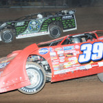 Tim McCreadie (39) battles Scott Bloomquist during Friday's World of Outlaws Late Model Series race at Lernerville Speedway. (Julia Johnson Photo)