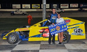 Brendon Gemmill stands in victory lane after his modified victory Saturday at Dodge City (Kan.) Raceway Park. (The Wheatley Collection Photo)