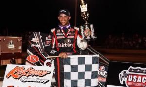 Bryan Clauson won Sunday night's Indiana Midget Week finale at Kokomo Speedway. (Gary Gasper photo)