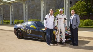 Royal Purple President Bryan Yourdon, Royal Purple sponsored driver Townsend Bell and Lingenfelter Performance Engineering CEO/owner Ken Lingenfelter with a specially wrapped Lingenfelter C7 Corvette at the 2014 Indianapolis 500. Photo Credit: Royal Purple