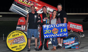 C.J. Johnson broke into victory lane for the first time this year by winning the 25-lap NCRA vs. ASCS Sooner Region portion of the Sixth Annual Steve King Memorial at Dodge City Raceway Park Saturday night. (TWC Photo)