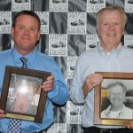 Mark Kinser (left), a 2014 National Sprint Car Hall of Fame inductee, poses with his father and fellow National Sprint Car Hall of Fame member Karl Kinser. (Conrad Nelson Photo)