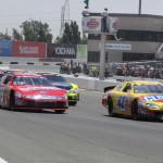 Kyle Larson (42) leads the NASCAR K&N Pro Series West field during Saturday's event at Sonoma (Calif.) Raceway. (Tom Parker Photo)