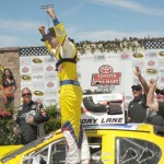 Kyle Larson celebrates his victory in Saturday's NASCAR K&N Pro Series West event at Sonoma (Calif.) Raceway. (Tom Parker Photo)