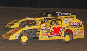 Devin Gilpin (1) races alongside Kenny Wallace during Thursday's DIRTcar Summit Racing Equipment Modified Nationals opener at Kankakee County Speedway. (Stan Kalwasinski Photo)