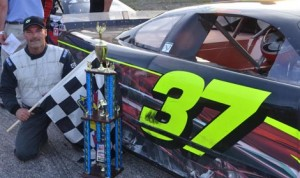 Larry Gelinas in victory lane after winning Sunday's Granite State Pro Stock Series event at Hudson (N.H.) Int'l Speedway. (GSPSS Photo)