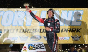 Darrell Wallace Jr. celebrates after winning the NASCAR Camping World Truck Series event at Gateway Motorsports Park. (NASCAR Photo)
