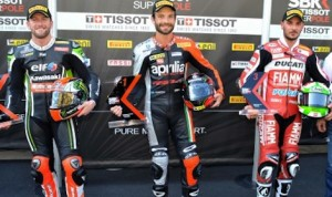 Sylvain Guintoli (center) shared the podium with Tom Sykes (left) and