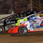 Matt Sheppard (9h) races alongside Brett Hearn during Tuesday's Super DIRTcar Series event at New Egypt Speedway. (Dave Dalesandro Photo)