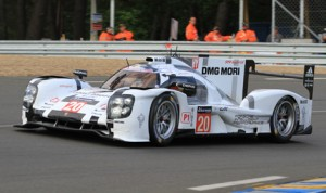 The No. 20 Porsche on track Wednesday at Circuit de la Sarthe in Le Mans, France. (Pete Richards Photo)